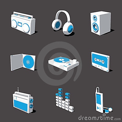 Blue-white 3D icon set 07