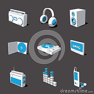 Free Blue-white 3D Icon Set 07 Stock Photo - 3092820