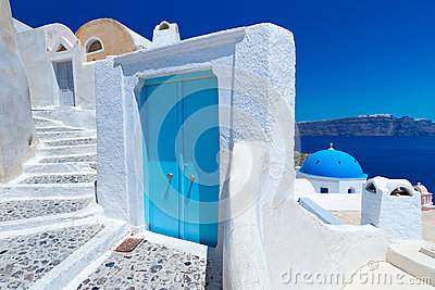 Blue and white architecture of Santorini island