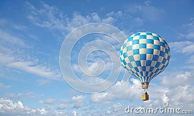 Blue-white checker hot air balloon
