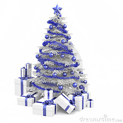 Blue and white christmas tree
