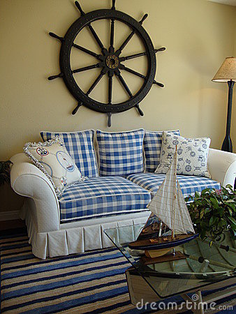 Blue & White Couch