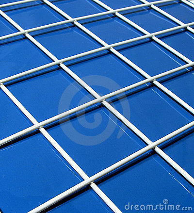 Blue and white grid Stock Photo