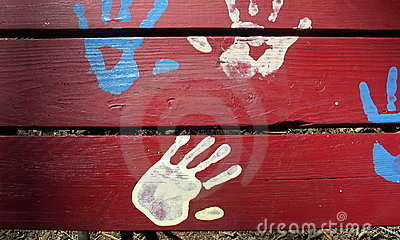 Blue and White Hands on Red