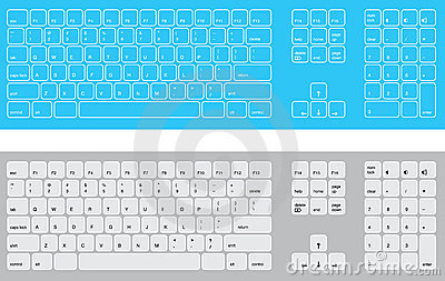 Blue and white keyboards
