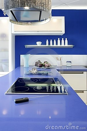 Free Blue White Kitchen Modern Interior Design House Royalty Free Stock Photo - 17284175