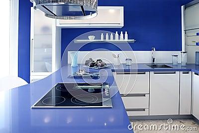 Blue white kitchen modern interior design house