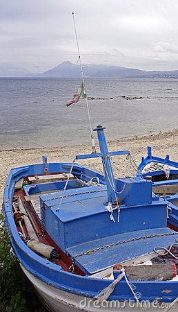 Blue and white painted boat