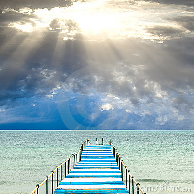 Blue and white pier