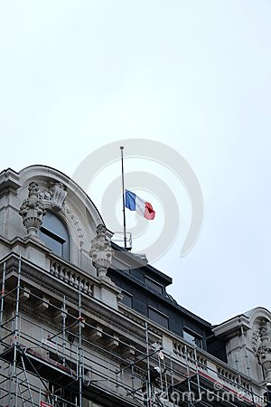 Blue-White-Red Flag At Half-mast Editorial Stock Photo ...