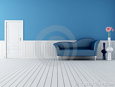 Blue and white retro interior