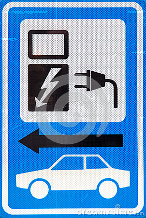 Sign for loading electric car