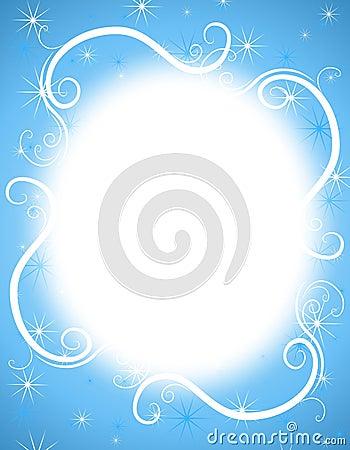 Blue White Sparkles Frame