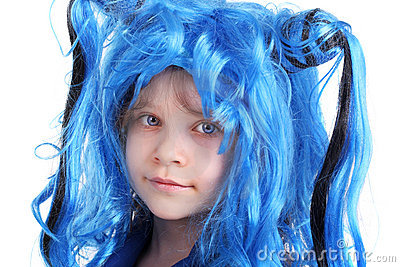 Blue wig