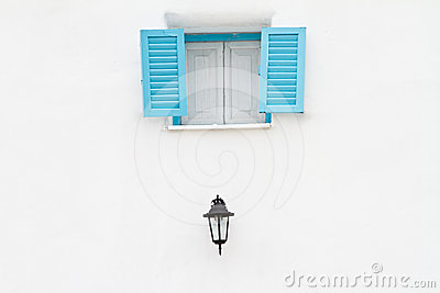 Blue window and lamp