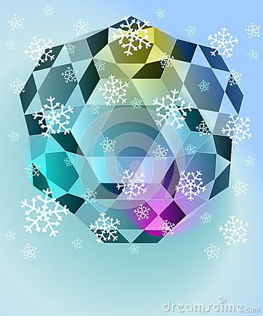 Blue winter diamond with falling snow vector