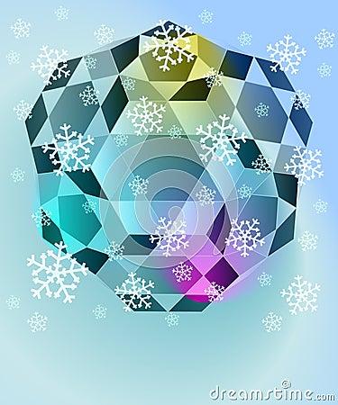 Blue winter diamond with falling snow vector