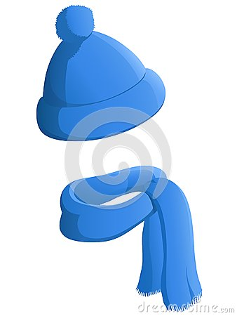 Free Blue Winter Hat With Scarf Isolated On White Background Royalty Free Stock Photography - 45163707