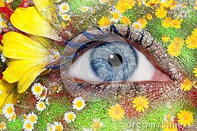 Blue woman eye makeup spring flowers metaphor