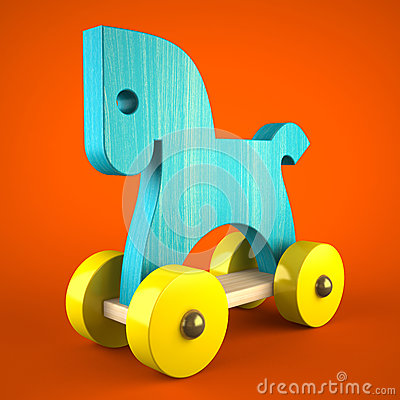 Free Blue Wood Horse Toy On Red Background (symbol Of The New Year 20 Royalty Free Stock Photo - 34695005