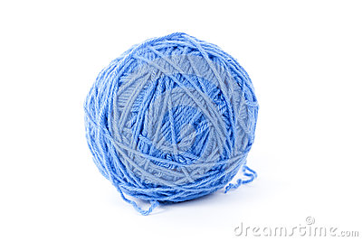 Blue wool yarn isolated