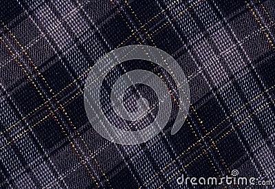 Blue woolen tartan.