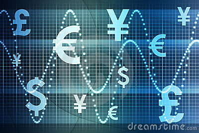 Blue World Currencies Business Abstract Background