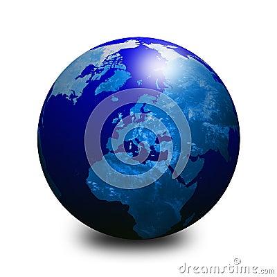 Blue world globe 3