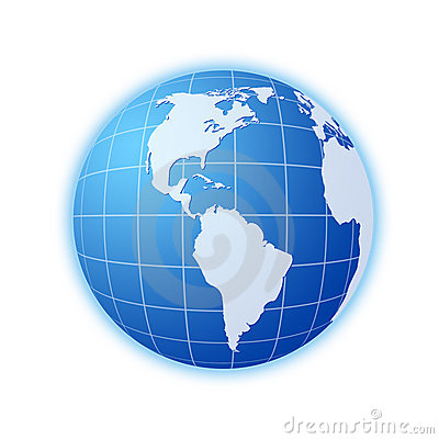Blue world globe 3