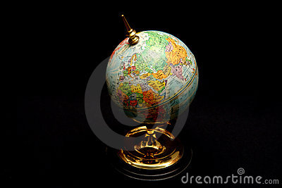 Blue World Globe on Black