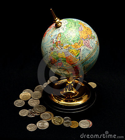 Blue World Globe with Coins