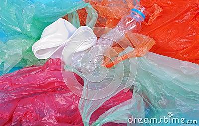 Blue wrinkled plastic bag