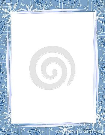 Free Blue Xmas Snowflakes Border 2 Stock Image - 3551511