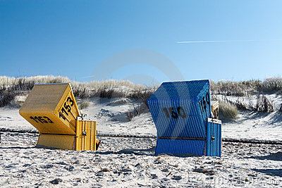 Blue and yellow beach chair