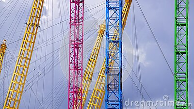 Blue Yellow Red And Green Metal Bar With Metal Sprint In Low Angle Photography Free Public Domain Cc0 Image