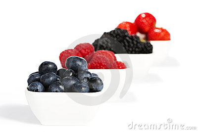 Blueberries in a bowl with other wild berries in b