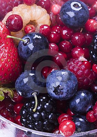 Blueberries with fruits