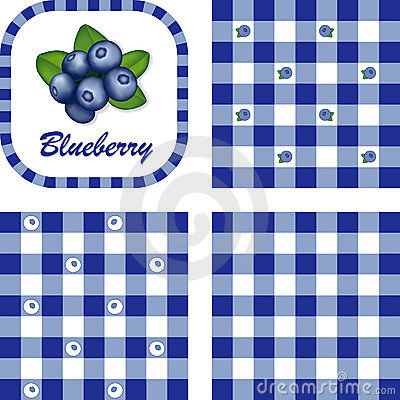 Blueberries & Gingham Seamless Patterns