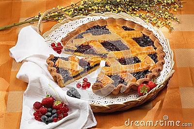 Blueberries jam tart