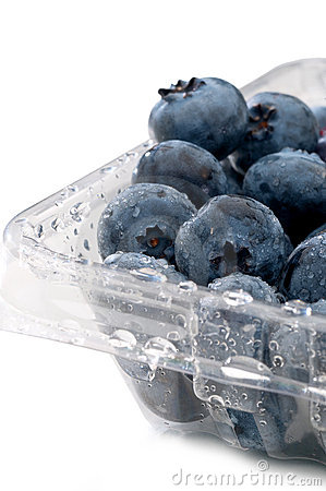 Blueberries in a plastcic clear container