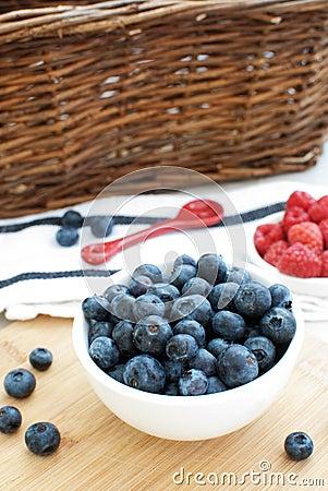 Blueberries and raspberries top view