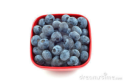 Blueberries in red dish