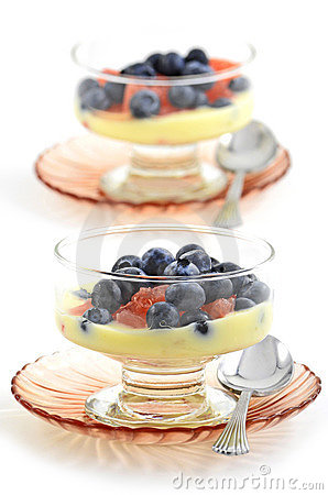 Blueberries, red grapefruit and lemon yogurt