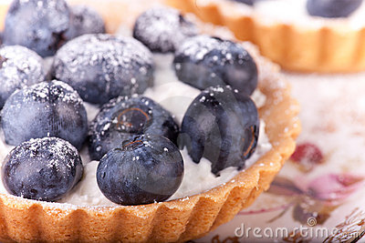 Blueberries tarts on the plate
