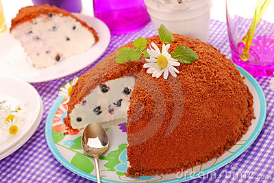 Blueberry cake with chocolate crumble topping