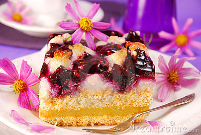 Blueberry and coconuts cake