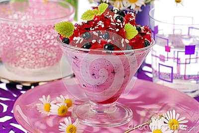 Blueberry dessert with jelly