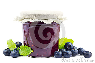 Blueberry jam on white