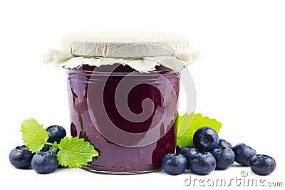 Blueberry jam on white
