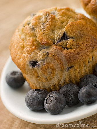 Free Blueberry Muffin On A Plate With Blueberries Royalty Free Stock Image - 6878746